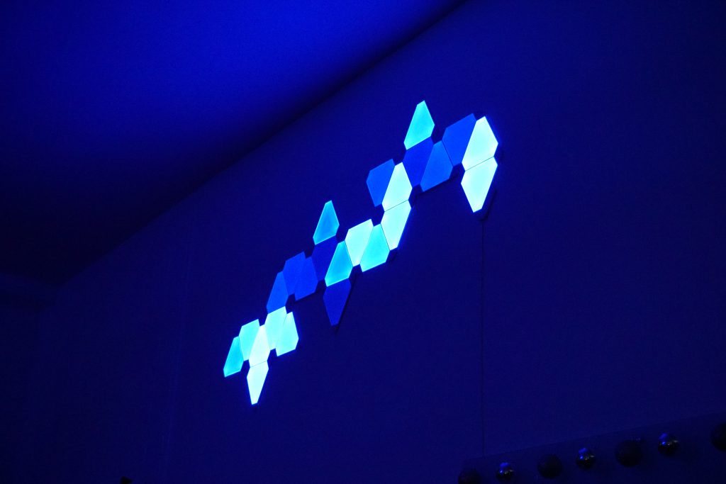 Nanoleaf Lights controlled by the Moddable Lighting Control API